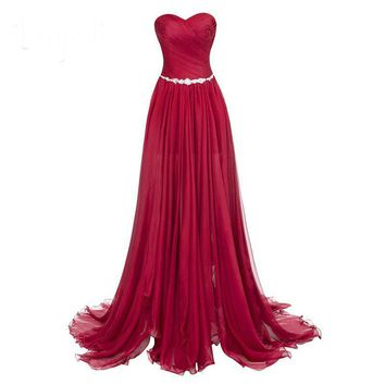 Split front evening dresses strapless floor length dress train ruched chiffon party long evening gown