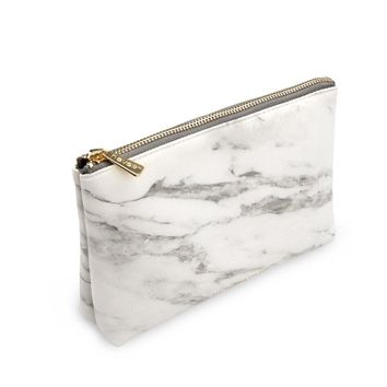 "METAN Marble White Cosmetic Bag with Gold Zipper, Fashion Handbags for Makeup Storage, Change Holder, Coin Wallets (8.36"" x 2.38"" x 5.3"")"