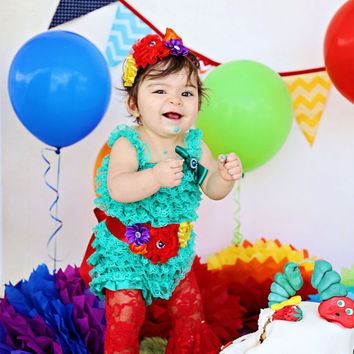 Baby Lace Romper Set,The Very Hungry Caterpillar Romper Outfit ,Lace Romper Set,Photo Prop, Smash Cake Outfit, First Birthday Outfit