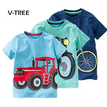 V-TREE Summer Baby Boys T Shirt Cotton Short Sleeve T Shirt Tops Tees For Boy Kids Tops Baby Children Clothes 2-8 Year