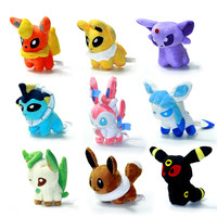 "New 9pcs/lot Pokemon Plush Toys 5"" Umbreon Eevee Espeon Jolteon Vaporeon Flareon Glaceon Leafeon Animals Stuffed Doll Toy"