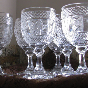 Pressed Glass Vintage Goblets, Set 6 Perfect Wedding Gift, Compliments Any Home Decor