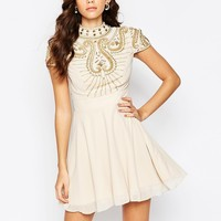 Maya High Neck Embellished Bodice Skater Dress at asos.com