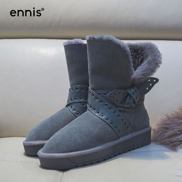ENNIS 2017 Fur Snow Boots Women Cow Suede Leather Winter Boots Platform Flat Mid Calf Shearling Boots Fashion Buckle Shoes W702