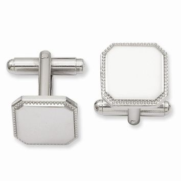 Rhodium Plated Square Beaded Cuff Links