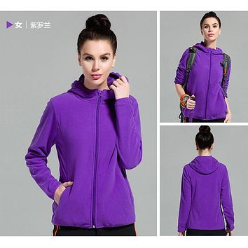 Outdoors Windproof Hooded Pure Color Cardigan Hoodie