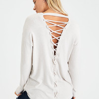 AEO Soft & Sexy Plush Lace-Back Sweatshirt, Sand