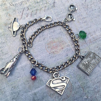 Kryptonian Hero Charm Bracelet, Superhero Jewelry, Cosplay Jewelry, Fandom Jewelry, Comic Book Jewelry, Fangirl Jewelry, Krypton Jewelry
