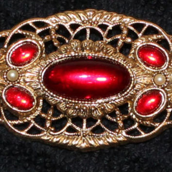 Vintage Victorian Edwardian Renaissance Gold Tone Brooch With Faux Rubies and Pearl Accents