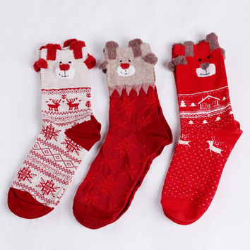 1 pair New Winter Warm Christmas Socks Deer Elk Xmas Gift kawaii Xmas Socks for Women Girls Merry Christmas Gifts KH986970