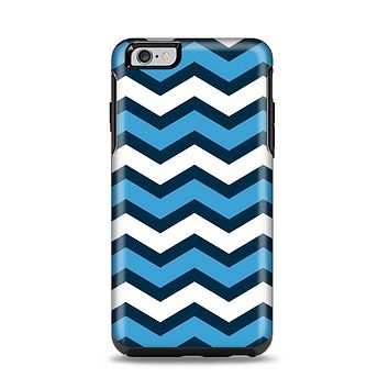 The Blue Wide Chevron Pattern Apple iPhone 6 Plus Otterbox Symmetry Case Skin Set