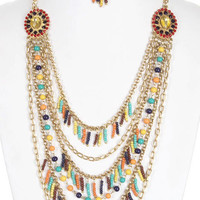 Layered Chain Necklace Earring Set  Beaded Necklace Tassel Necklace - By PiYOYO 45125X2