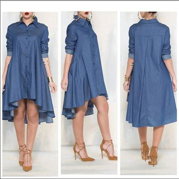 Casual Denim Blue Pockets Shirt Irregular Loose Dress