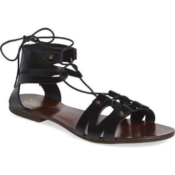 Topshop 'Hilt' Cutout Lace-Up Black Sandal  Size 36 (US5.5)