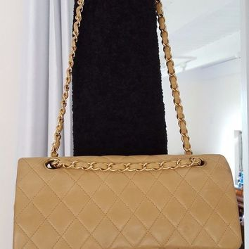 ONETOW CHANEL Double Flap 25 Quilted CC Logo Lambskin w/Chain Shoulder Bag Beige/p105