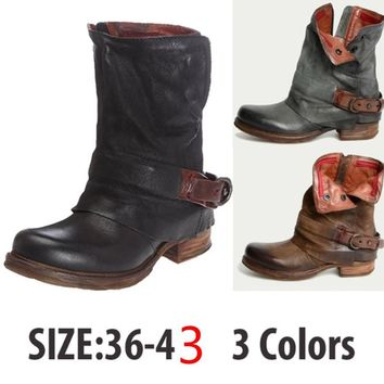 Genuine Leather Women Boots Flat Booties  Women's Shoes  Ankle Boots