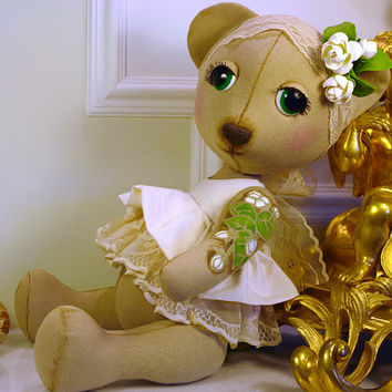 Made-To -Order - Handmade Collectible Personalized Vintage Art Toy Teddy bear Retro style