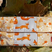 Fox and Flower Fields Fashion Bifold Wide Women's Cotton Wallet