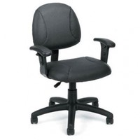 Boss Leather Plus Posture Task Chair with Adjustable Arms