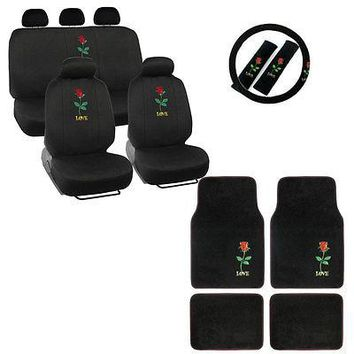 Licensed Official Full Set Love Red Rose Car Front Back Seat Covers Steering Wheel Cover Floor Mat