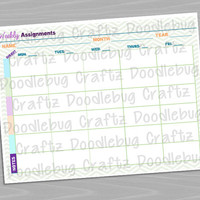 School Homework Weekly Assignment Tracker by Subject - School planner, to do, checklist, daily, weekly - INSTANT DOWNLOAD - The EASY Life