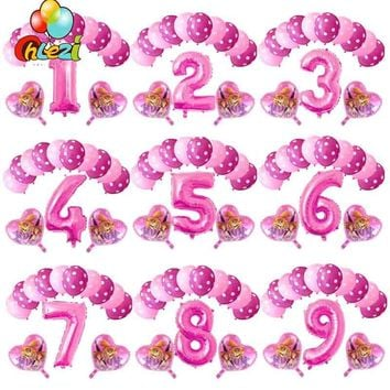 13pcs Pink Sky Chase PAW PATROL Pink Blue Heart Foil balloon Number 123 Birthday Party decor Helium Globos Kids Toys baby shower