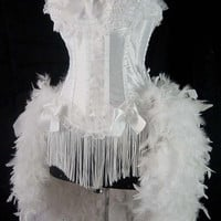 Size M-White Victorian Lace Moulin Burlesque Costume Feather