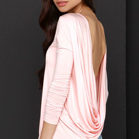 Walk Twist Way Peach Long Sleeve Top