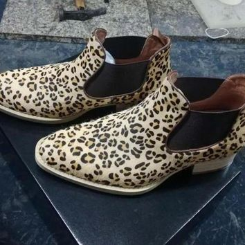 2017handmade low cut chelsea boots point toe kanye west boots genuine leather leopard euro and America spring and autumn