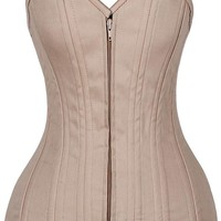 Daisy Corsets Top Drawer CURVY Tan Cotton Double Steel Boned Corset