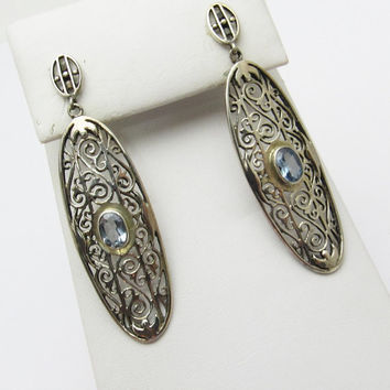Long Sterling Earrings Filagree Blue Topaz Vintage Jewelry E7284
