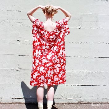 red muumuu BOHO shift dress loose fit hippie dress red floral oversized dress small medium large extra large