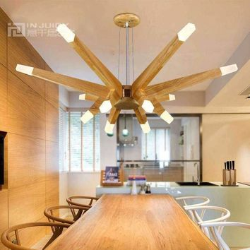 Nordic Modern LED Wood Ceiling Light Lamp Fixtures Droplight Chandelier Loft Aisle Bedroom Store Restaurant Dining Room Decor