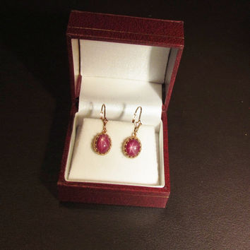 Star Ruby 14k Rose Gold Vintage Style Dangle Earrings July Birthstone Gemstone Jewelry