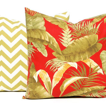 Decorative Pillow Covers - Palm Leaf PIllow - Chevron Pillow Cover - Sofa Pillow Covers - Red Pillow Cover - Tropical Palm and Chevron
