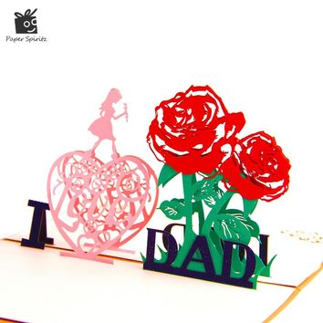 3D Pop up Card Postcards Father's Day Thank You Handmade Paper Laser Cutting Flower Custom Party Greeting Cards I love Dad