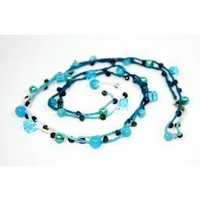 Teal Blue crocheted necklace - Crocheted Jewelry - Everyday Jewelry  :: Nes Jewelry and Art