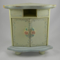 Wood Corner Fit Desk Organizer Jewelry Box  Armoire Shabby Cottage Style Hand Painted Sculpted Rose Knobs Chippy Cream Paint  Ice Blue Trim