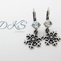 Swarovski Snowflake Lever Back Earrings, Dangles, Ant Silver, Holiday, Christmas, Winter, DKSJewelrydesigns, FREE SHIPPING