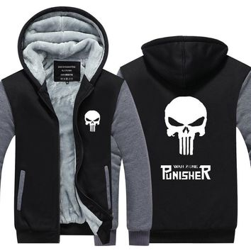 ROXINYUEHU New Winter Warm The Punisher Hoodies Anime skull Hooded Coat Zipper cardigan Thick Jacket Sweatshirt          TT027