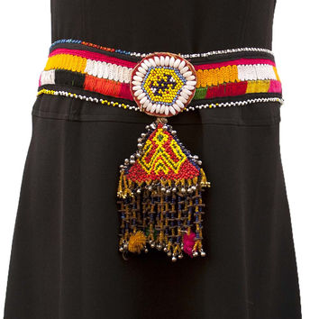 Belly Dancing Gypsy Kuchi Embroidered Waist Belt Soft Bells Pearls Glass Seed Beads