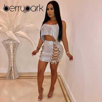 BerryPark 2019 Women Sequin Bodycon Two Piece Set Irregular Backless Crop Top + Lace Up Bandage Mini Skirt Outfits Drop