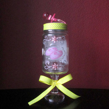 Baby Shower Gift Centerpiece Keepsake/Candy Apothecary Jar.Announcement New Baby New Mom Dad Party Favor Decoration.Hostess Gift.Home Décor
