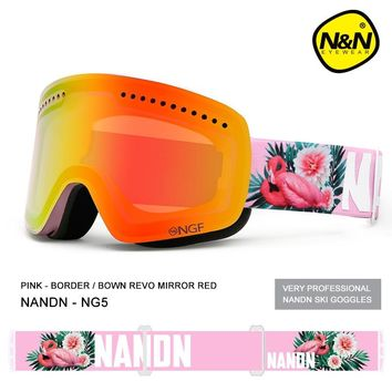 NANDN ski goggles double layers UV400 anti-fog big ski mask glasses skiing men women snow snowboard goggles NG5