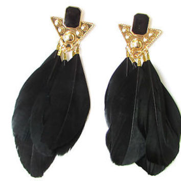 Black Gold Long Feather Earrings 1920s Vintage Flapper Great Gatsby Stud 1302