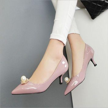 Fashion women pointed pearls toe shallow mouth sandals High Heels shoes
