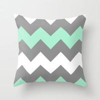 Mint White Grey Chevron Throw Pillow by CreativeAngel