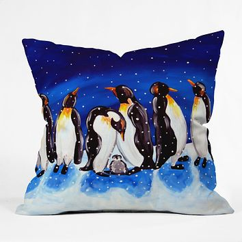 Renie Britenbucher Penguin Party Throw Pillow