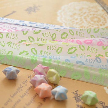 Origami Paper Folding / Lucky Star Assorted Glow in Dark / Favour Strips 2 Colors Mixed 60 Stripes /Lip Kiss Letter