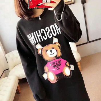ONETOW moschino Fashion Monogram Logo Print Hooded Long Sleeve Loose Sweater G-G-JGYF